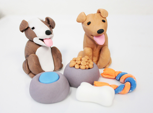 Fondant dog cake toppers by Sugar and Stripes Co.