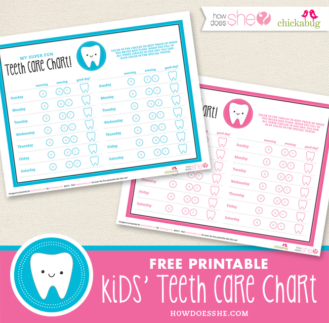 graphic relating to Printable Tooth Brushing Charts identify Absolutely free printable small children enamel treatment chart Chickabug