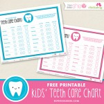 Free printable kids' teeth care chart - a fun way to motivate kids to brush and floss!