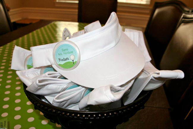 Golf birthday party - visors for the party guests