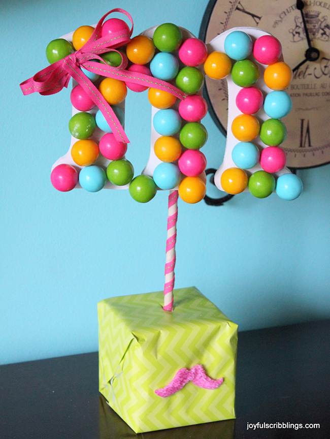 DIY gumball monogram topiary - so cute for a birthday party!