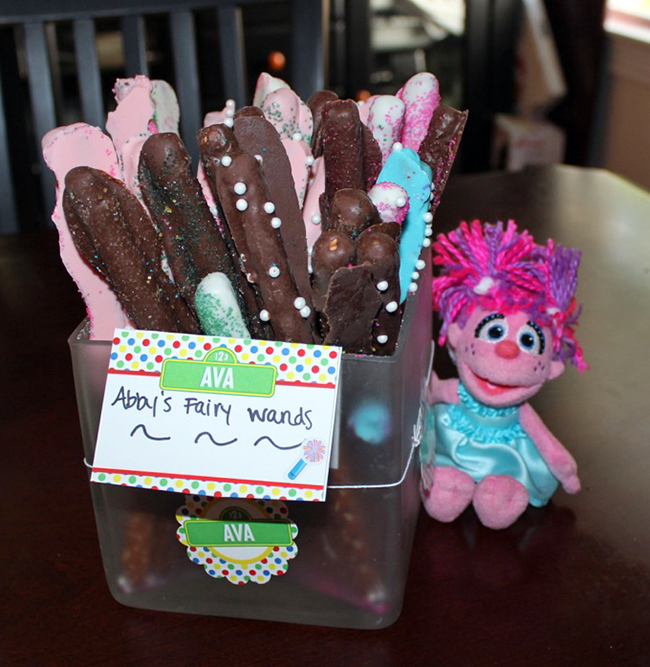 Sesame Street birthday party! Abby's fairy wands - chocolate covered pretzels