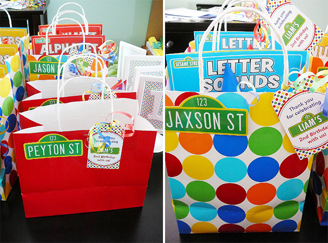 Sesame Street birthday party favor bags