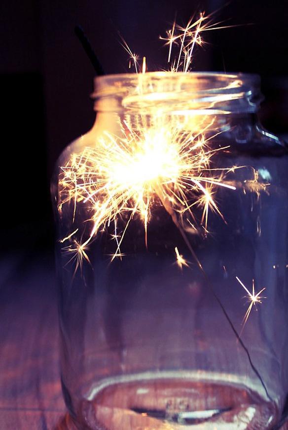 Sparkler in a jar
