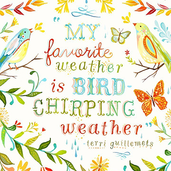 Bird chirping weather - art print by Katie Daisy, www.katiedaisy.com