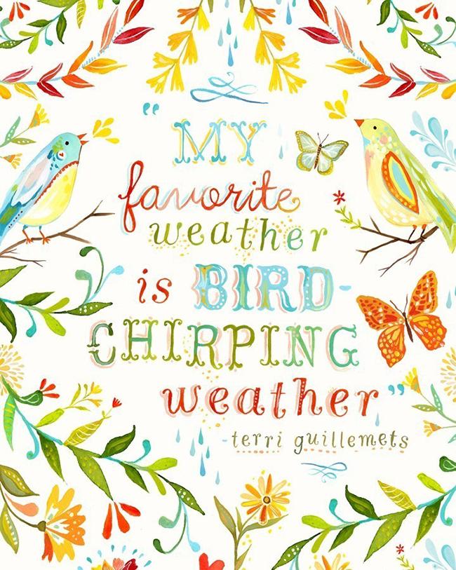 Bird chirping weather - art print by Katie Daisy, www.katiedaisy.com