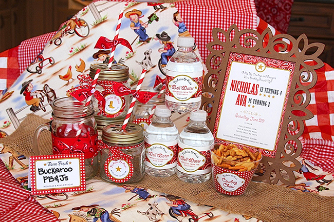 Country-western birthday party paper goods and printables from Chickabug - chickabug.com