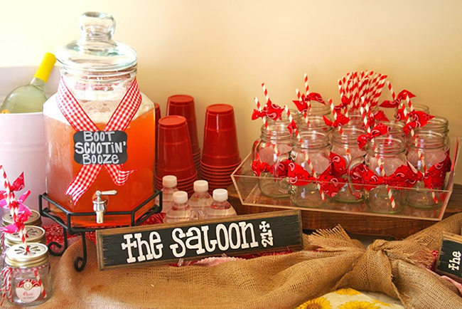 "Country-western birthday party - ""the saloon"" drink station"