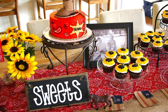 Country-western theme sweets table