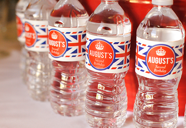 """London Calling"" 2nd birthday party - custom Union Jack water bottle labels from Chickabug"