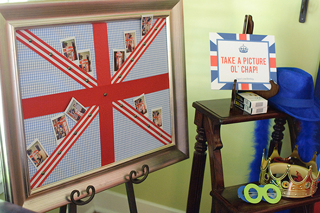 """London Calling"" 2nd birthday party - photo booth and Union Jack photo display board"