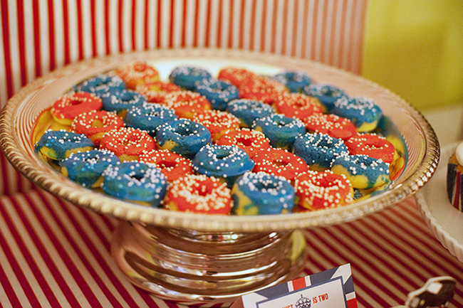 """London Calling"" 2nd birthday party - red and white mini donuts"