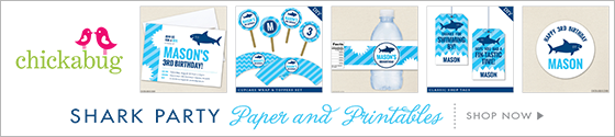 Shark theme party paper goods and printables from Chickabug - www.chickabug.com