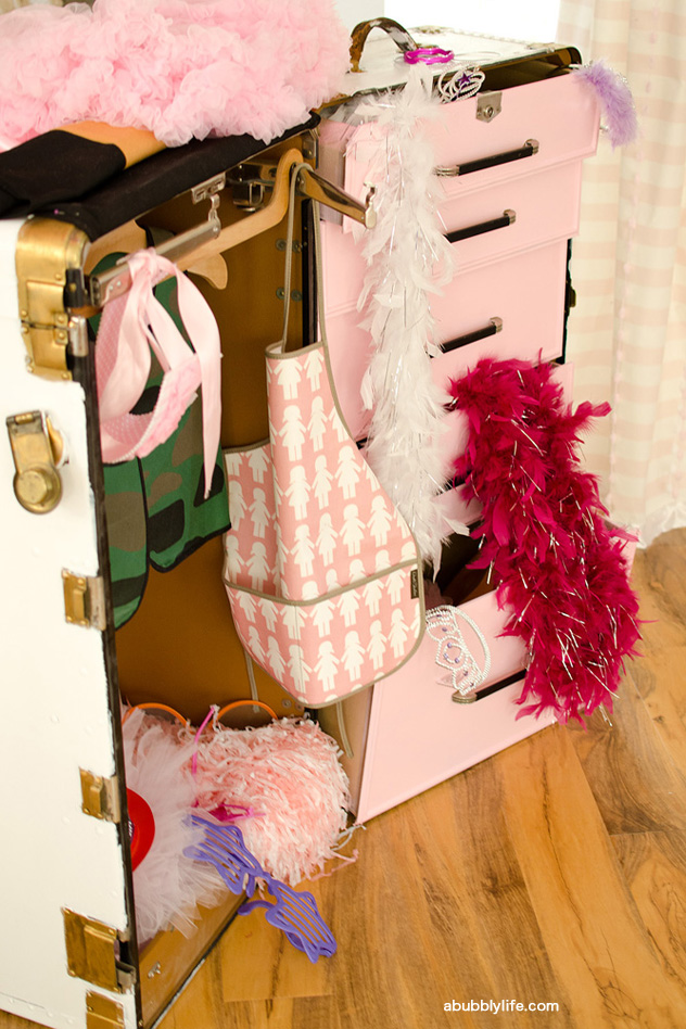 Dress-up theme birthday party - clothes and accessories displayed in a steamer trunk