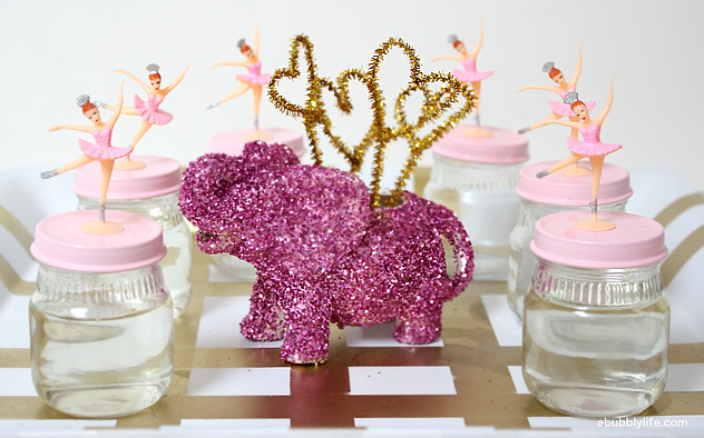 Glitter bubble party favors and DIY glittered animals