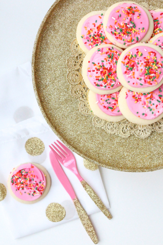 DIY glittered decoupage cake stand and party utensils