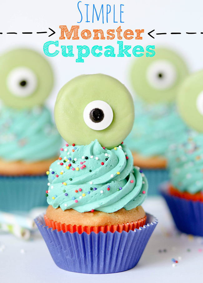 Monster cupcakes with Oreo eyes - so cute!
