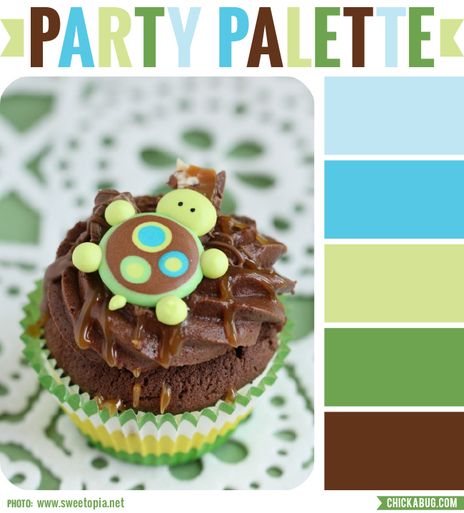 Party Palette: Color inspiration in greens, aqua blues and chocolate brown