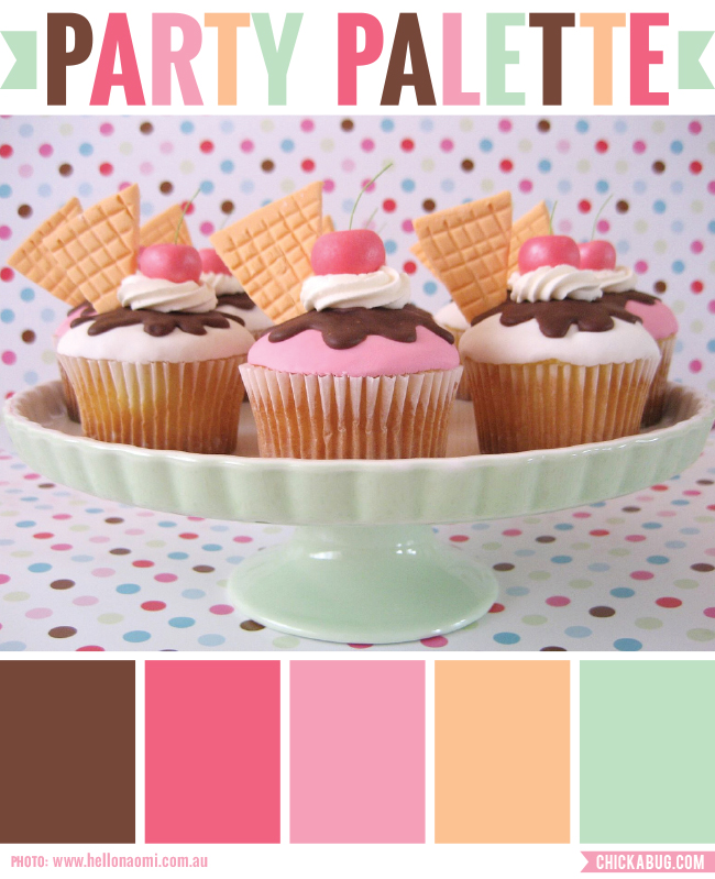 Party palette: Color inspiration in sherbet tones and chocolate brown #colorpalette