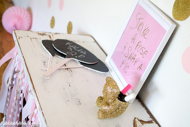 Dress-up theme birthday party - DIY chalkboard props for a photo booth