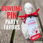 Bowling pin party favors with printable tags from Chickabug