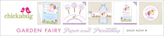 Garden fairy theme paper goods & printables from Chickabug - www.chickabug.com
