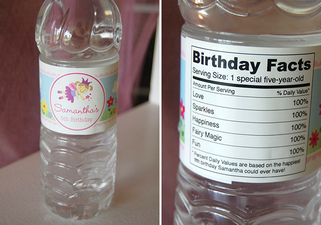 Garden fairy theme birthday party - personalized water bottle labels from Chickabug