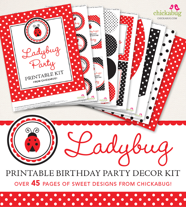 Ladybug theme birthday party printable kit from Chickabug.com - for an adorable red and black ladybug party! : ) #ladybugparty #printables #chickabug