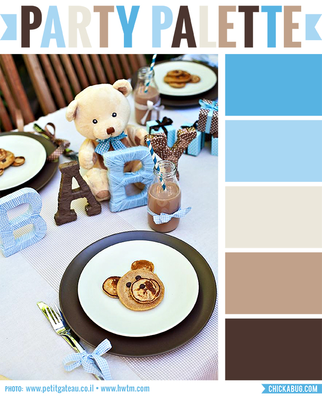 Party palette: Color inspiration for a blue and brown baby shower #colorpalette