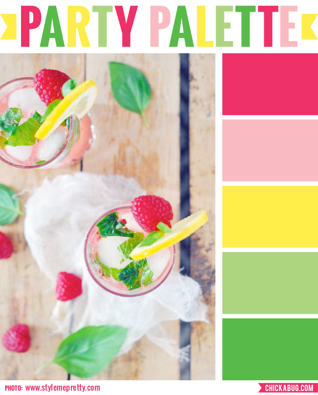 Party palette: Color inspiration in raspberry, pink, yellow, and green #colorpalette