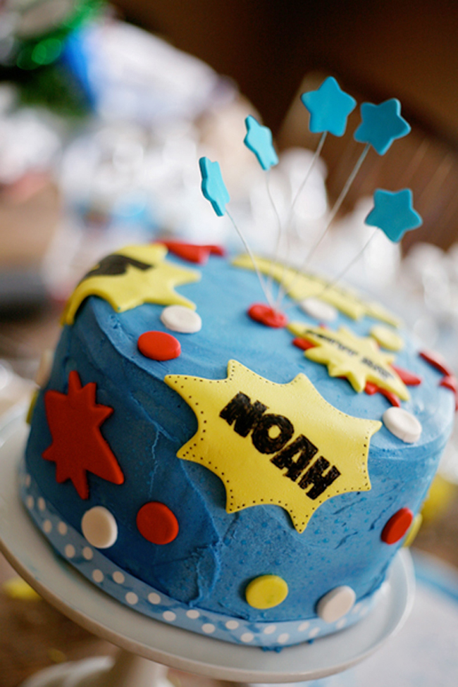 Superhero birthday cake made with a cake kit from Ella Vanilla, www.ellavanillacakekits.com