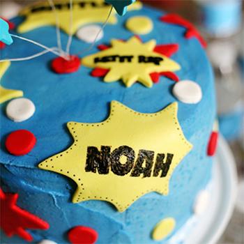 Superhero birthday cake made with a cake kit from Ella Vanilla, www.ellavanillacakekits.com