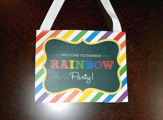 Chalkboard rainbow theme birthday party - Printable welcome sign from Chickabug.com