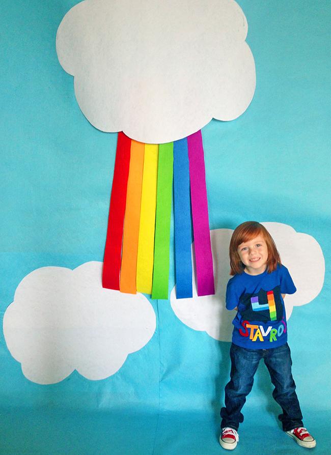 DIY rainbow photo booth backdrop