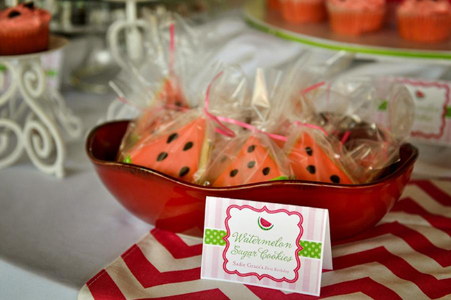 Watermelon theme birthday party -printable buffet cards from Chickabug
