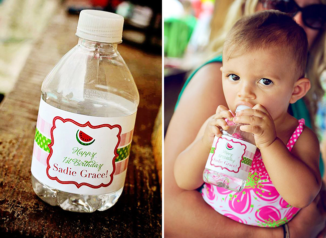 Watermelon theme birthday party - personalized water bottle labels from Chickabug