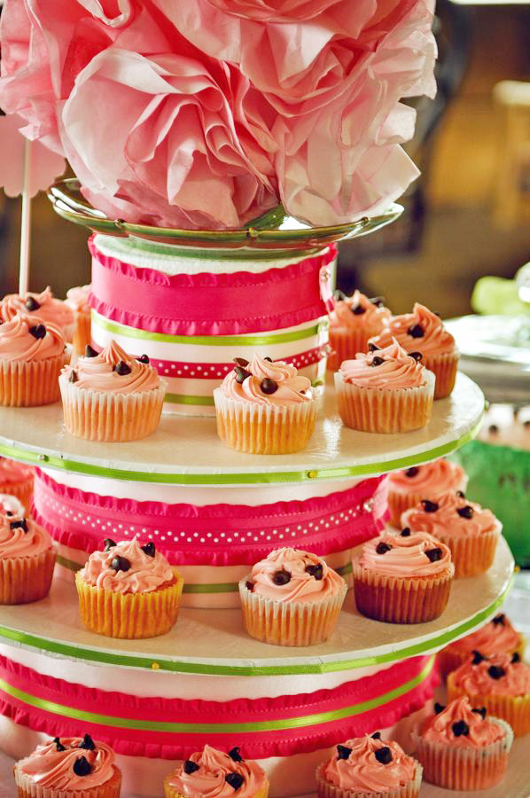 Watermelon theme birthday party  cupcake stand