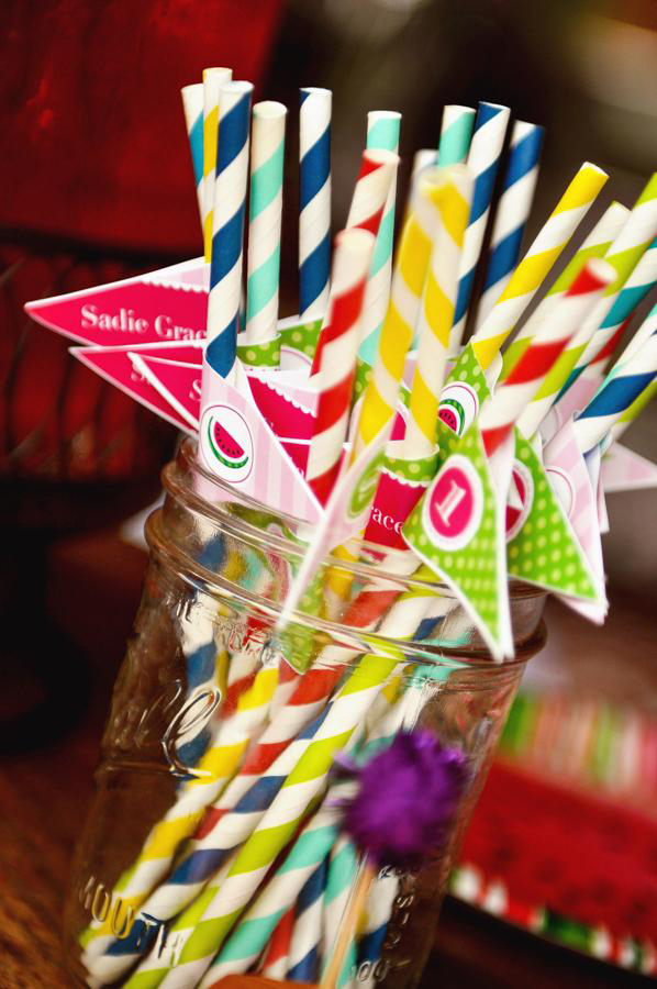 Watermelon theme birthday party - printable straw flags from Chickabug