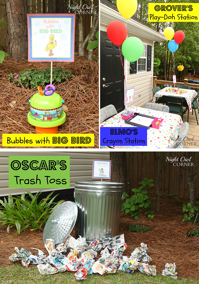 Sesame Street birthday party activity stations