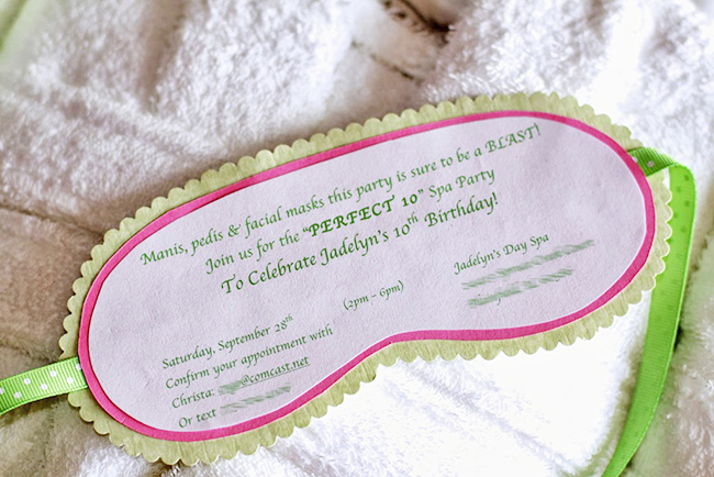 Spa theme birthday party - homemade facial mask party invitations