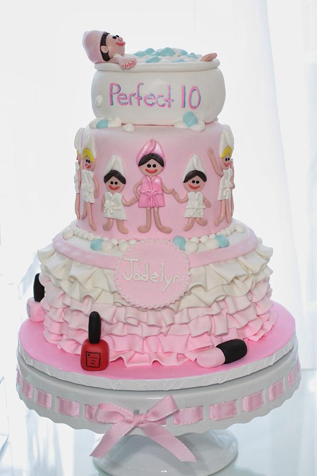 Spa theme birthday cake by www.TickledPinkCakes.com
