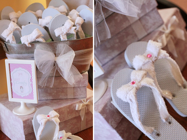 Spa theme birthday - inexpensive flip flops embellished with terry cloth bows and rhinestones