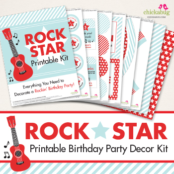 Rock Star birthday party printable decor kit - Over 45 pages of rockin' printables from Chickabug!