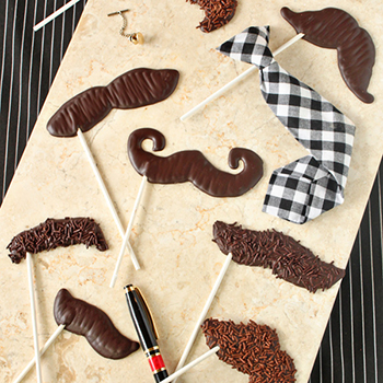 DIY chocolate mustache pops