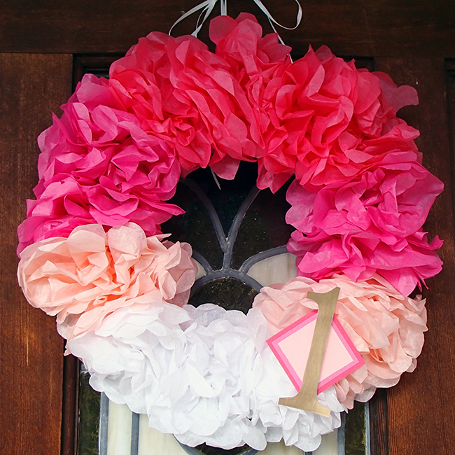 Princess theme birthday party - DIY tissue paper wreath