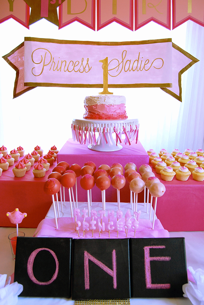 Princess theme birthday party - made from scratch: chocolate covered cherry cake pops, mini vanilla cupcakes and mini strawberry cupcakes