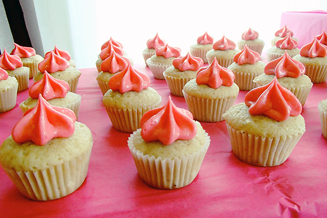 Princess theme birthday party - mini strawberry cupcakes with pink vanilla buttercream frosting