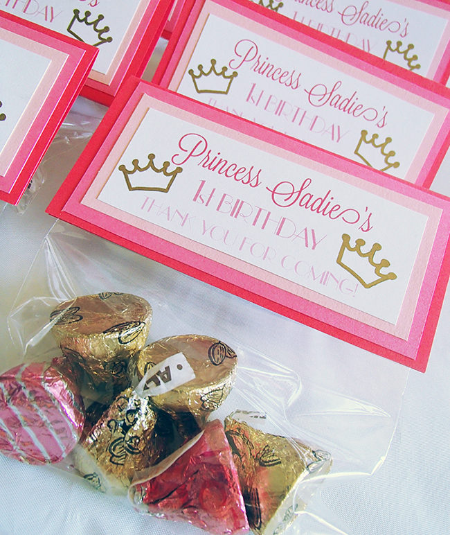Princess theme birthday party - personalized princess treat bag labels and assorted Hershey's kisses