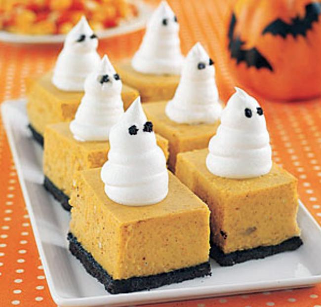 Pumpkin cheesecake ghost bars