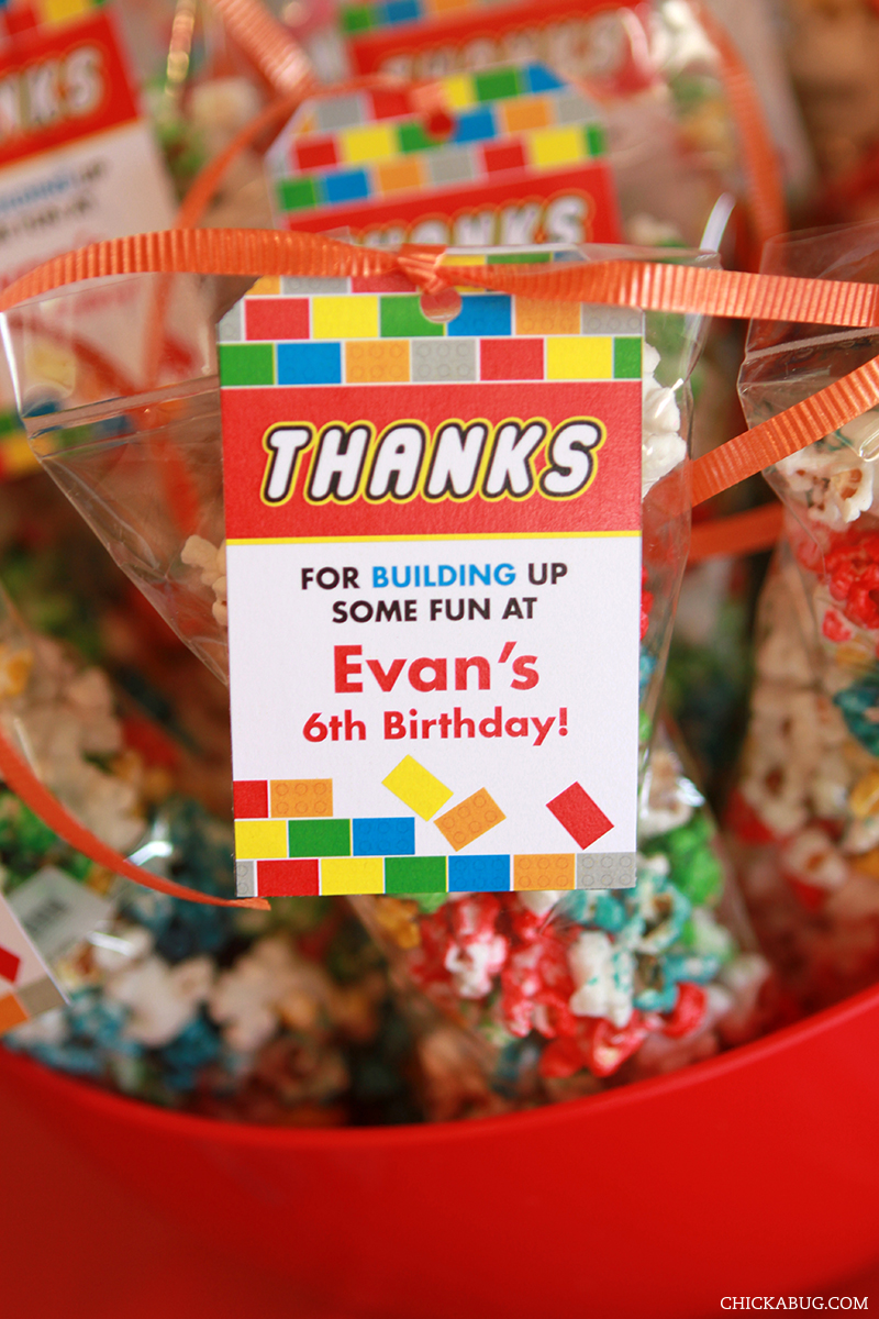 LEGO® theme birthday party favors - printable favor tags from Chickabug